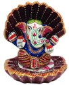 Metal Meenakri Ship Ganesha Statue God Idol Sculpture