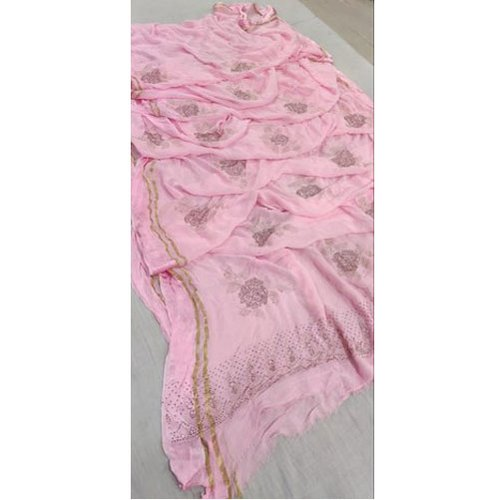Pink Base Party Wear Pure Georgette Satin Patta Saree, 6.3 m (with blouse piece)