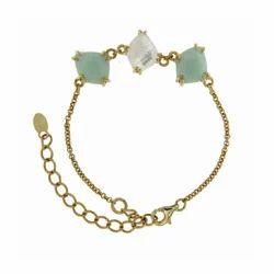 Three Fancy Stone Multi Gemstone Chain Bracelet Micron Gold Plated Bracelet