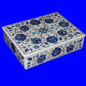 Antique Handcrafted Marble Inlay Jewelry Box