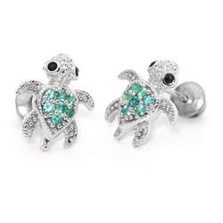 Emerald & CZ Silver Earring for Girls
