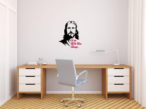 black peacockride jesus christ always with you wall decal, rs 279