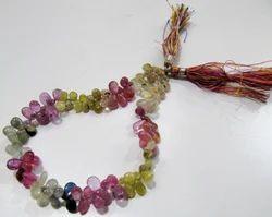 Multi sapphire Briolette Pear Shape Beads