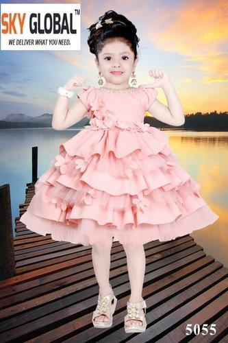 63156d95b Imported Scuba Plain Kids Western Wear And Party Wear Frock For ...