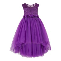 Round Neck Purple Dresses for Toddler Girls