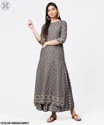 Grey Printed Half Sleeve Cotton Ankle Length Kurta With Flared Ankle Length Skirt