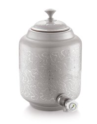 Printed Pipal Silver Matka, For Home