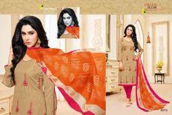 Embroidered Round Neck Khwaish Salwar Suit Fabric