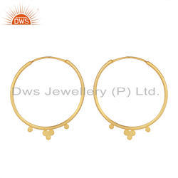 Yellow Gold Plated Designer Silver Hoop Bali Earrings Jewelry