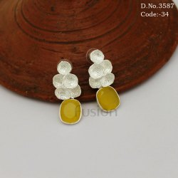 Stylish Glass Stone Silver Polish Earrings