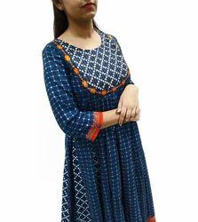 Embroidered Anarkali Cotton Kurta