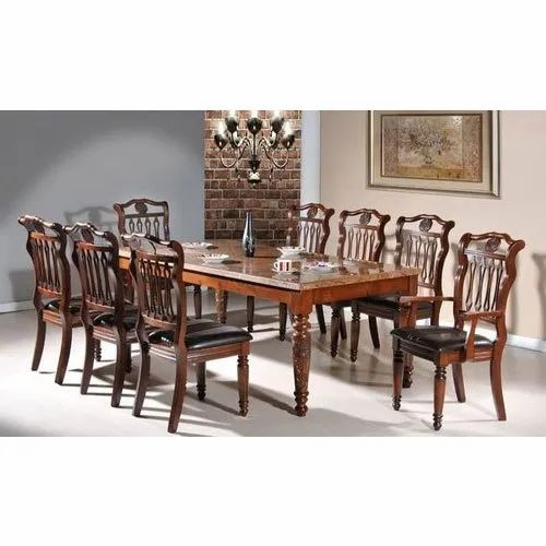 Star 8 Seater Teakwood Dining Table Set, Dining Room Table For 8