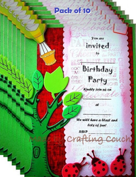 Green And Red Birthday Invitation Card With Jungle Theme - Pack Of 10