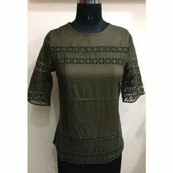 Ladies Green Net Top