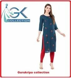 Ladies Rayon Nevi Embroidery Kurti