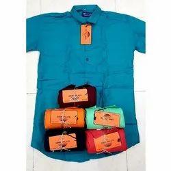 One Plus Casual Wear Mens Collar Neck Cotton Plain Shirt