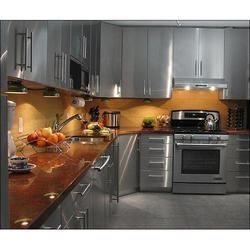 Residential L Shaped Stainless Steel Modular Kitchens, Warranty: 5-10 Years
