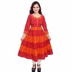 Red and Orange Ladies Long Kurta