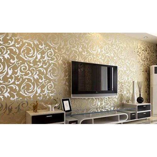 Paper With Plastic Coated Golden Printed Wallpaper For
