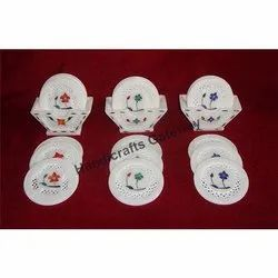 Marble Inlaid Tea Coaster Set