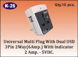 K-26 Universal Multi Plug with Dual USB 3 pin 2 Way with Indicator