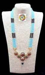 Antique Pendant With Crystal  Beads Indian Traditional Fancy Jewellery Necklace Set