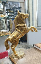 Golden Plated Metal Jumping Horse