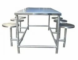 Stainless Steel Dining Table with Folding Stools, Material Grade: SS202