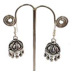 925 Jhumka Traditional Look Oxidized Silver Earrings Jewelry, Shape: Bell, 15 Gm