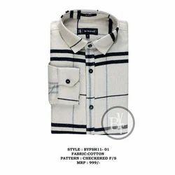 Cotton Mens Full Sleeve Collar Neck Check Shirt