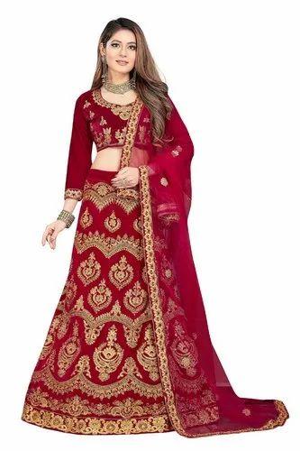 f440868fa Bridal Wear Net Embroidered Velvet Lehenga Choli Wedding Collection ...