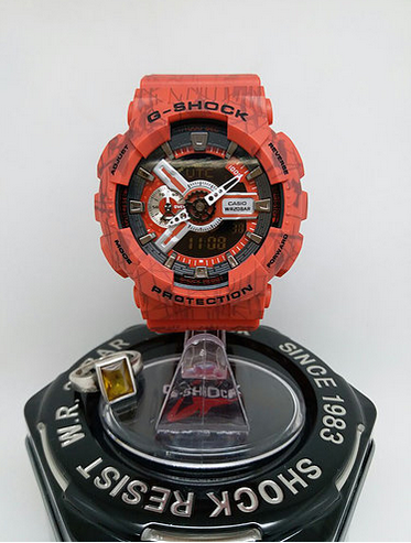 the latest b997b f4cd3 Casio g-shock red sports watch with white rubber