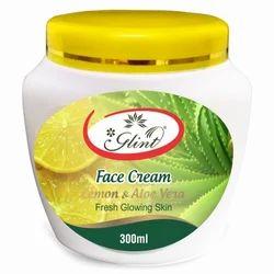 Private labeling Glint Face Cream Lemon & Aloe Vera, Packaging Size: 300 Ml, Jar