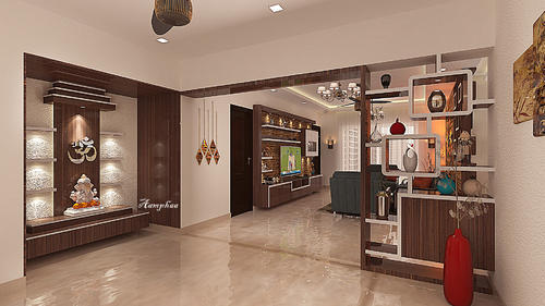Pooja Unit With Living Room Interior Decorators Aamphaa Projects