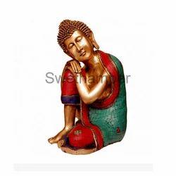 Brass Thinking Buddha Statue