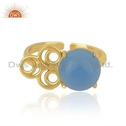 Designer Gold Plated 925 Silver Blue Chalcedony Gemstone Rings
