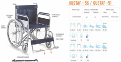 Gustaf-51 & 56 Heavy Duty Steel Wheelchair