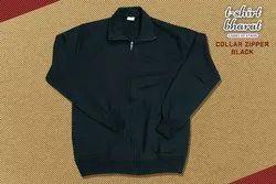Black Winter Fleece Jacket with Zip