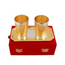 Silver And Gold Plated Water Glass Gift Set, 3