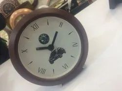 Brown Frame Round Promotional Table Clock