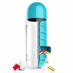 Daily 600ml Pill Box Organizer With Water Bottle