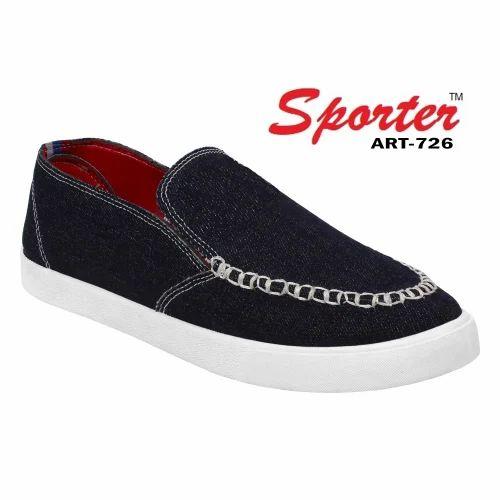 309658f6943 Sporter Men Black Canvas Loafers   Moccasins Shoes 726