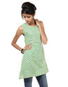 Blue Floral Printed Sleeveless Short Tunic Cotton Kurti