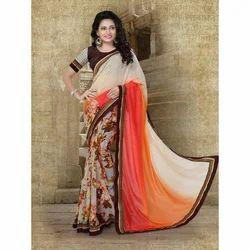 Ladies Designer Synthetic Saree, 5.5 M (separate Blouse Piece)