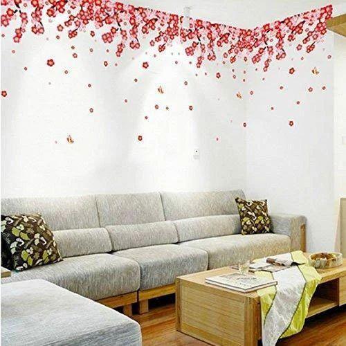 Red Flowers Wall Sticker, Size: 50 x 70 cm