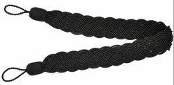 BY FLUKE BLACK Curtain Tieback Belt, Shape: Straight, Size: 40 Cm