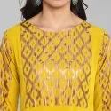 Yellow Poly Crepe Kurta(JNE3294)