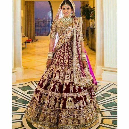 dc44f97290 Chanderi And Georgette Maroon Bridal Lehenga Choli, Rs 8000 /piece ...