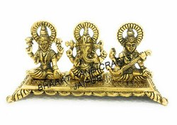 Metal Golden Plated Laxmi Ganesh Saraswati