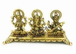 Metal Golden Plated Laxmi Ganesh Saraswati